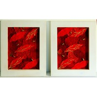 Poinsettia Deconstructed (Pair): (red & liquid gold petals in white frame)
