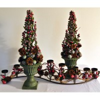 Festive Contemporary Christmas Topiary (Pair): (red, green, and purple /blue faux berries, green ceramic urn