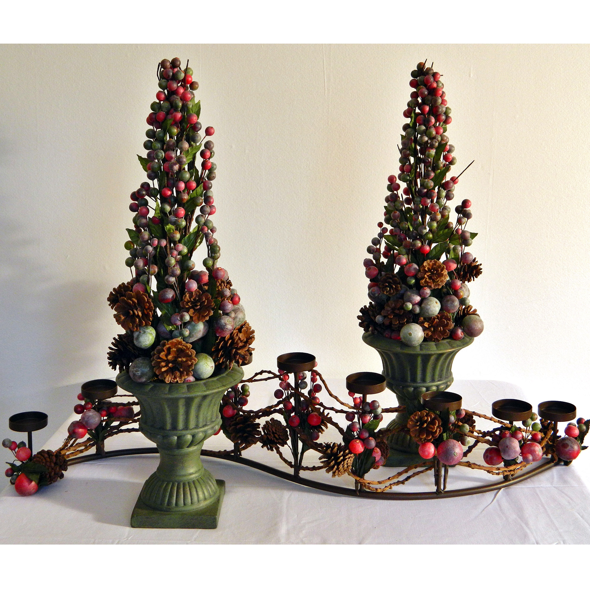 festive contemporary christmas topiary pair red green and purple - Christmas Topiary