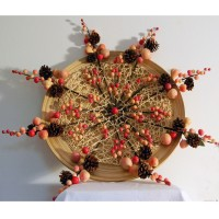 Peachy Contemporary Christmas Wreath: (multi-shaded peach colored faux berry stems, natural fiber mesh, bamboo