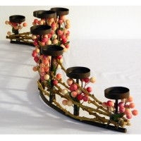 Peachy Contemporary Christmas Collection Candelabra: multi-shaded peach colored faux berries