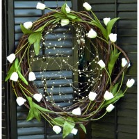 Heavy Grapevine Wreath with Iridescent White Tulips and White Ornamentation