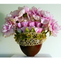 Pink Peony Fan: (brown ceramic container, pale green miniature orchids, pink/lavender silk Peonies