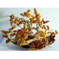 Poetry in Motion: (golden glass base, natural wood, clusters of faux golden brown berries)