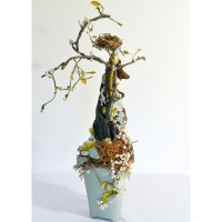 Robins Egg Spring Spiral: (found wood spiral, robins egg blue pot, like color stone, moss, and natural dried materials