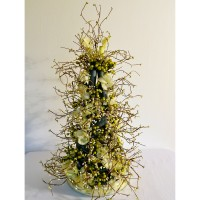 Twisted Lime Topiary: (lime green silk flower petals and lime green and white beads, silver grey corrugated tubing