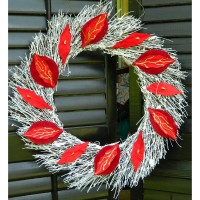 Whitewashed Twig Wreath with Red and Liquid Gold Embellishment