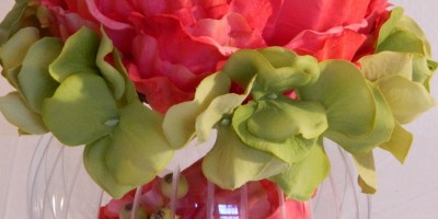 Cayanne Peek-A-Boo: (red orange bloom & lt. green Hydrangea in a glass container)
