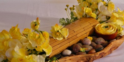 Yellow Freesia Garden: (with yellow sweet peas in natural container)